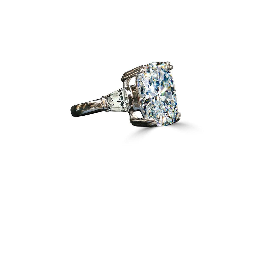 5CT.(12x10mm) intensely Radiant Cushion Diamond Veneer Cubic Zirconia Ring Detailed with Tapered Baguette Sides. 635R71575