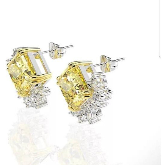 6CTW Square Diamond Veneer Cubic Zirconia Sterling Silver Post new Earrings. 800E204