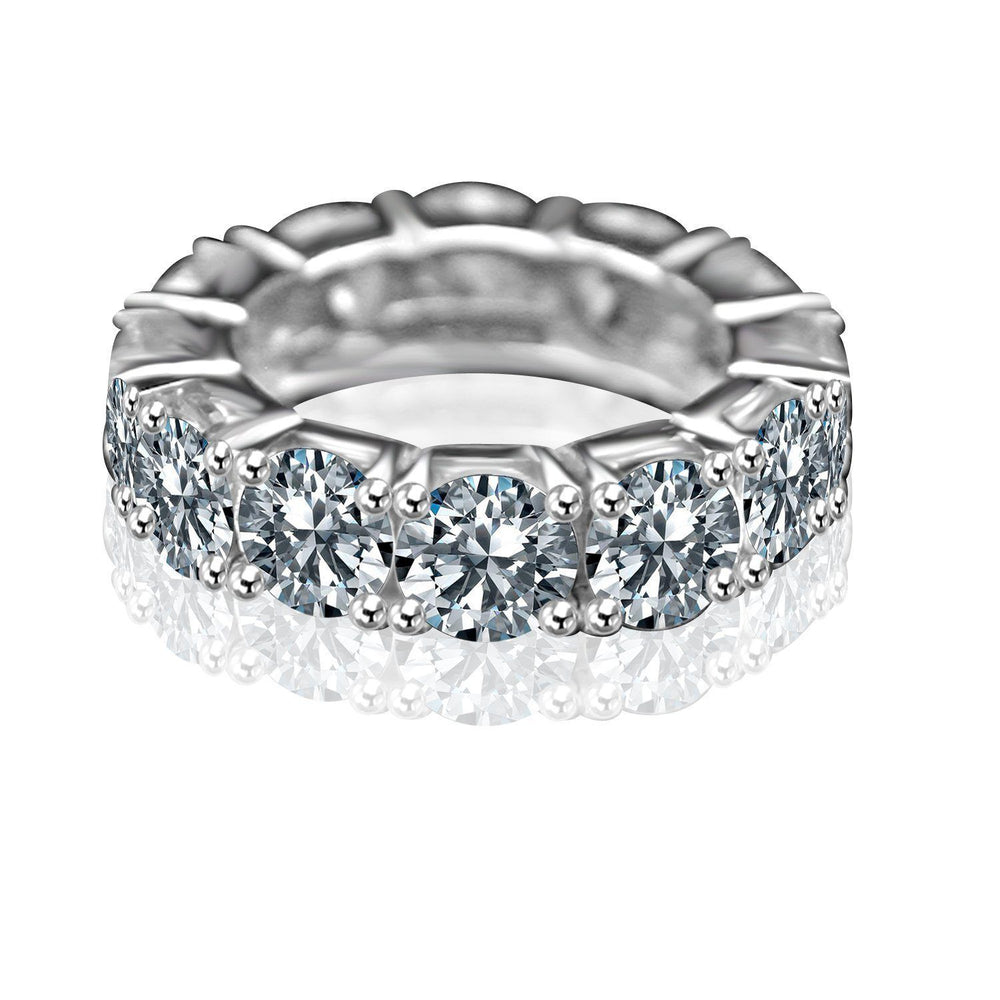 8CT TW Round Diamond Veneer Cubic Zirconia Sterling silver Eternity Band Ring.