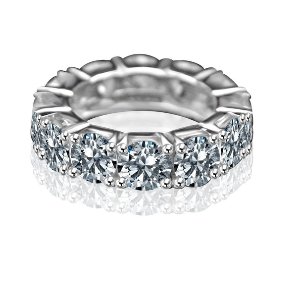 7 CT TW(5.5mm) intensely Radiant Round Diamond Veneer Cubic Zirconia Sterling silver prong Set all Around Classic Eternity Band Ring. 635R110 - Diamond Veneer Jewelry