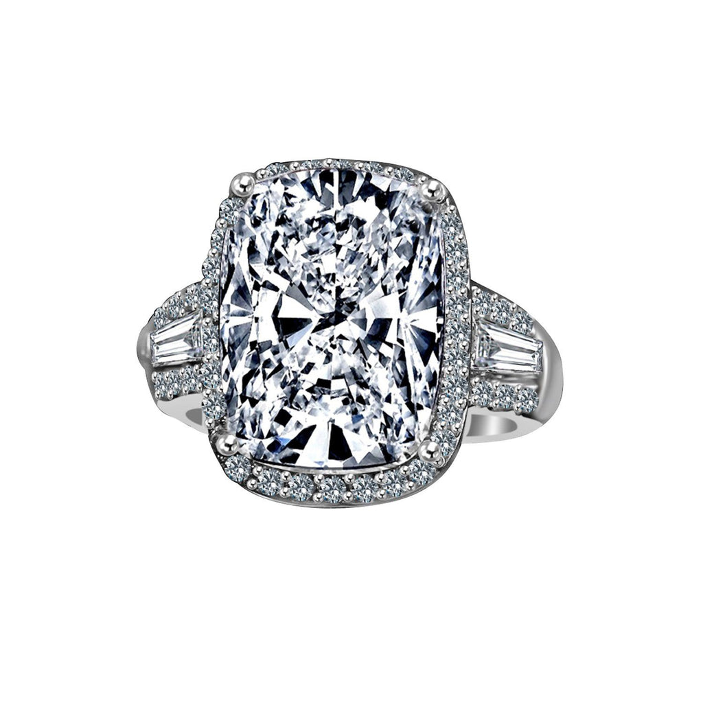8 CT. Intensely Radiant Cushion Center Diamond Veneer Cubic Zirconia with Halo Setting Sterling Silver Ring with side Tapered Baguette. 635R71678 - Diamond Veneer Jewelry