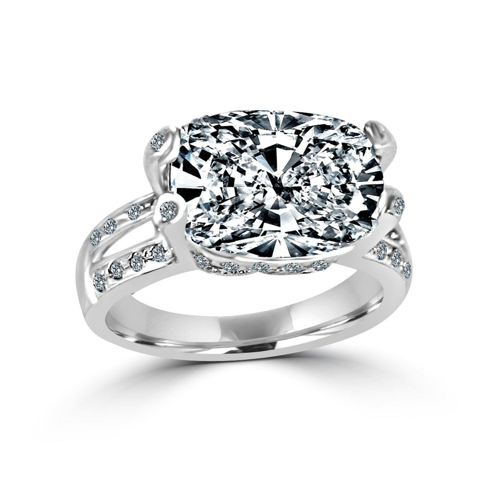8 CT.(14x10mm) Intensely Radiant Cushion Diamond Veneer Cubic Zirconia Set in Sterling Silver Modern Style Ring. 635R71487 - Diamond Veneer Jewelry