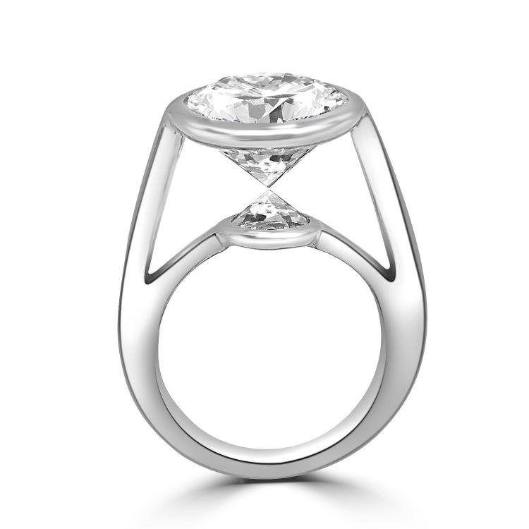 8CT Round Zirconite Cubic Zirconia  Double Stone Kissing Sterling Silver Ring .546RKiss