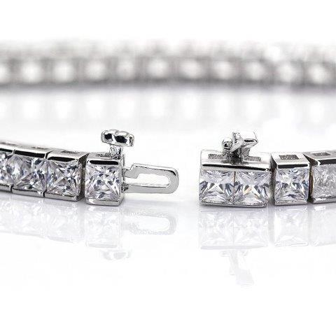 8CTW Square Radiant Diamond Veneer Cubic Zirconia 14K Gold Princess Cut Tennis Bracelet.