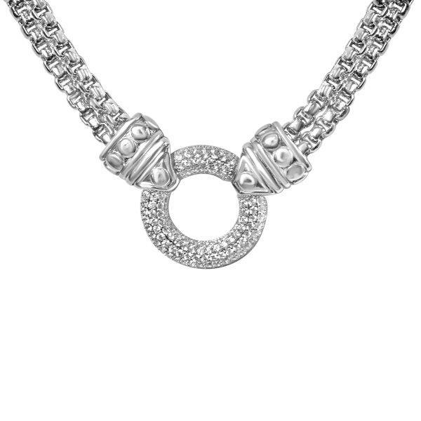 Circle Zirconite Cubic zirconia Pave setting Double Cable Chain necklace | Yaacov Hassidim