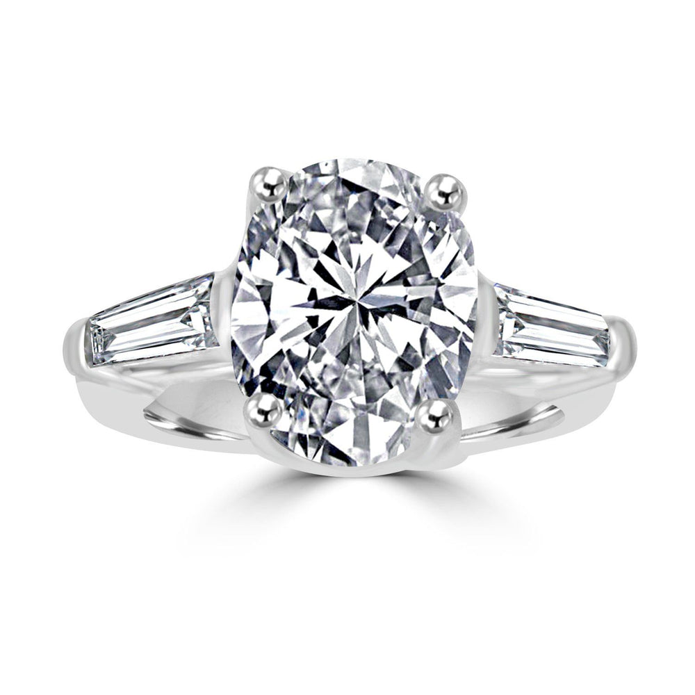 Classic Oval Center W/Side Baguette Simulated Diamond - Diamond Veneer Sterling Silver Engagement/Wedding Ring 635R72089 - Diamond Veneer Jewelry