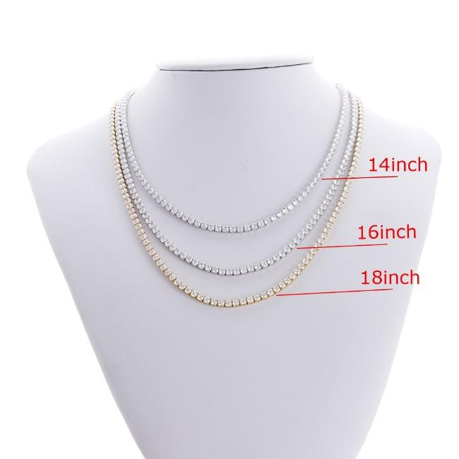 Classic Round all around Zirconite Cubic Zirconia Tennis necklace. 602N50005