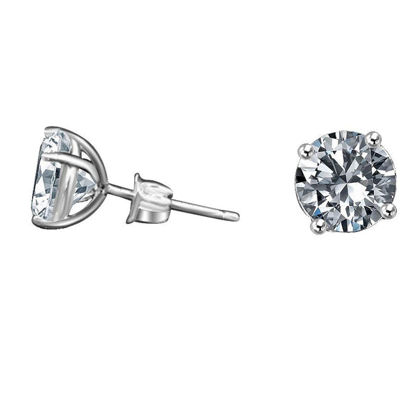 Designer Basket Settings set /w intensely Radiant Round Diamond Veneer Cubic Zirconia Sterling silver Stud Earrings. 635E - Diamond Veneer Jewelry