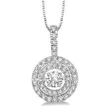 Dancing Diamond Veneer Cubic Sterling silver Pendant. - Diamond Veneer Jewelry