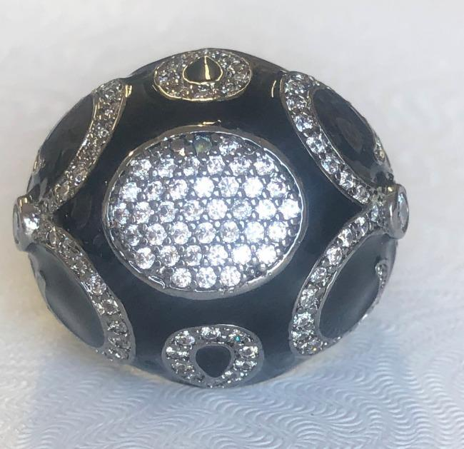 Designer Zirconite Cubic Zirconia Jeweled Enamel Art Deco Style Ring. B501ROW208 | Yaacov Hassidim