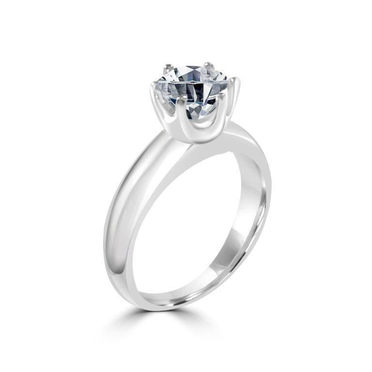 Round Crown Diamond Veneer Cubic Zirconia Sterling Silver Ring. New Item! - Diamond Veneer Jewelry