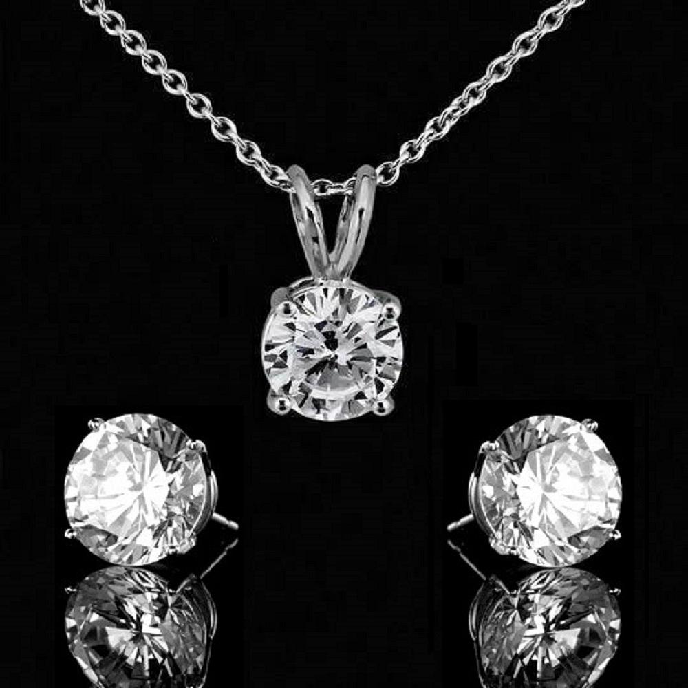 Diamond Veneer Cubic Zirconia Sterling Silver Pendant and Earrings Set - Diamond Veneer Jewelry