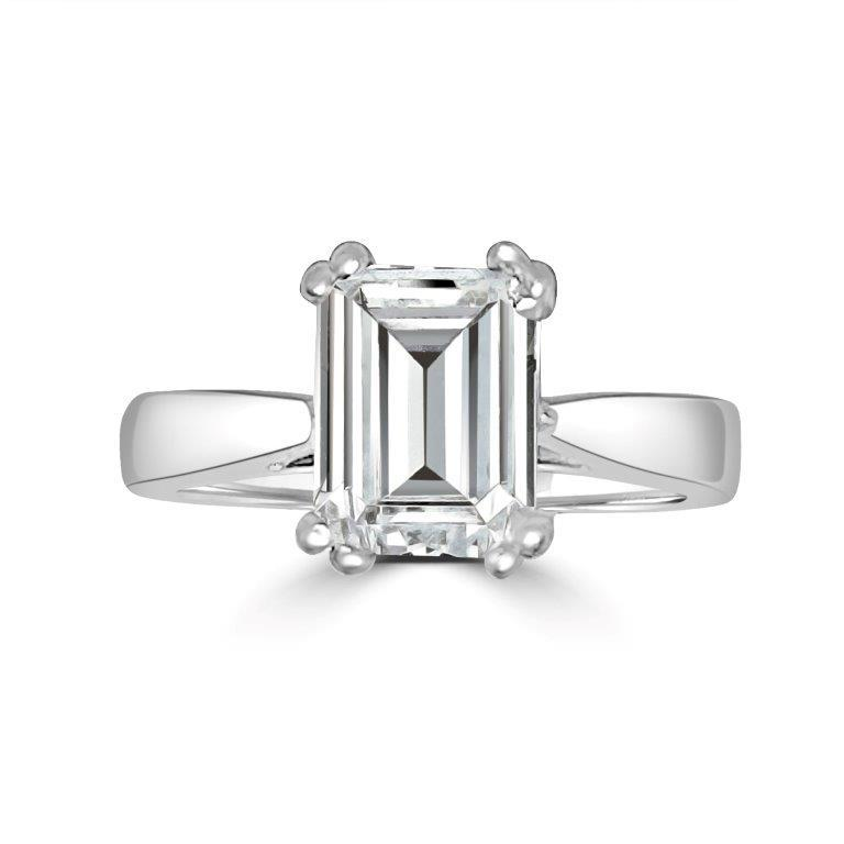 Emerald cut Diamond Veneer Cubic Zirconia 14K Gold Ring. 635R012 - Diamond Veneer Jewelry