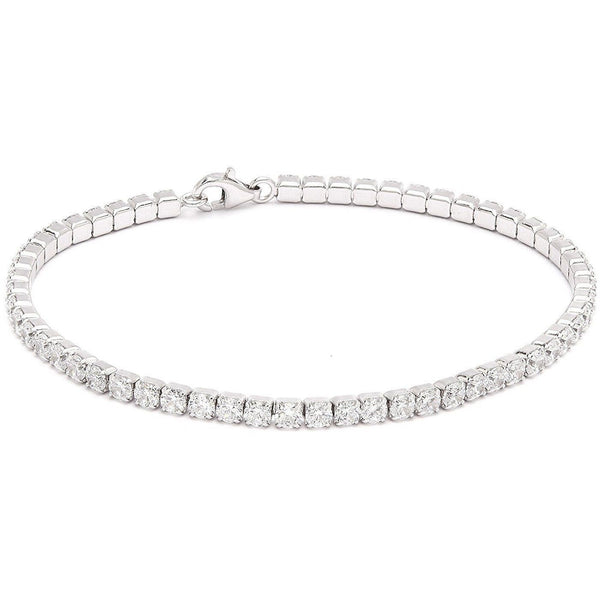 exceptionally brilliant 5CT TW (3mm) round Zirconite Cubic zirconia set in stainless steel Tennis bracelet. 698B300 - Diamond Veneer Jewelry