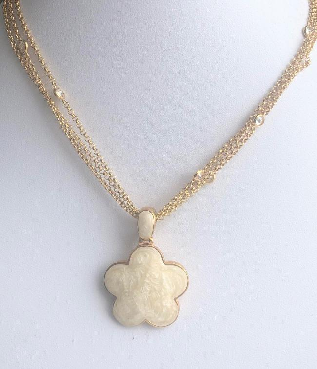 Five Leaf Enamel Clover on 3-strand Zirconite Stations Chain  Pendant Necklace.501N39746