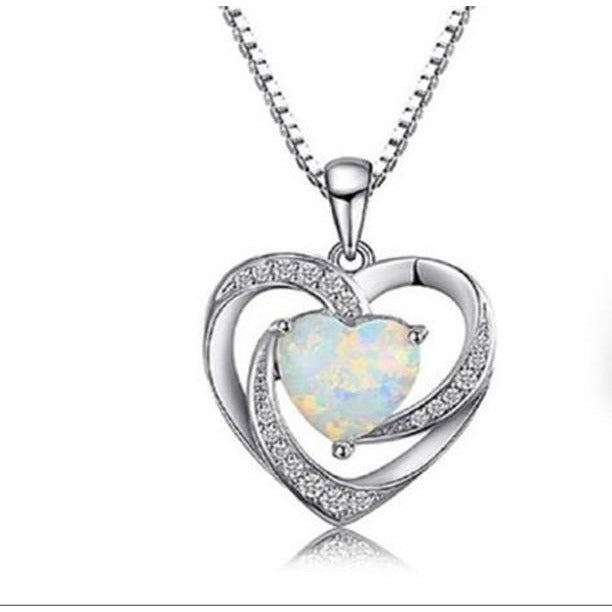 """heart lab created opal sterling silver 16"""" pendant"""