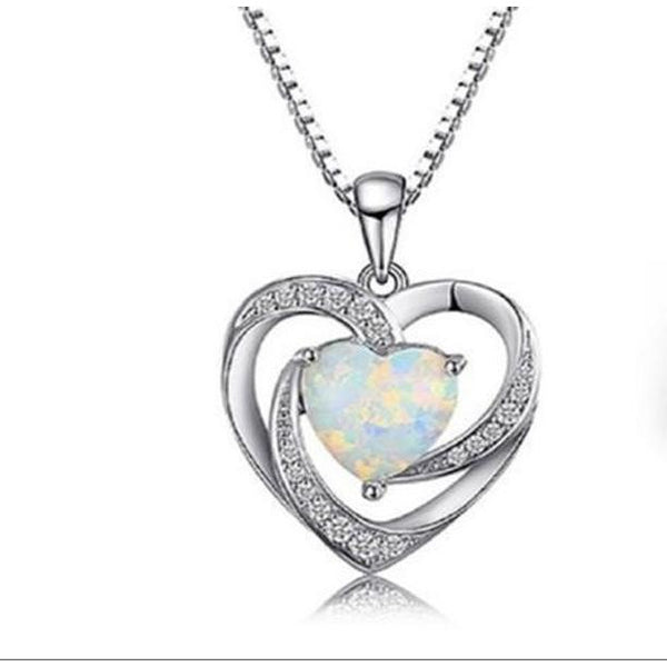 "Heart Lab Created Opal Sterling Silver 16"" Pendant - Diamond Veneer Jewelry"