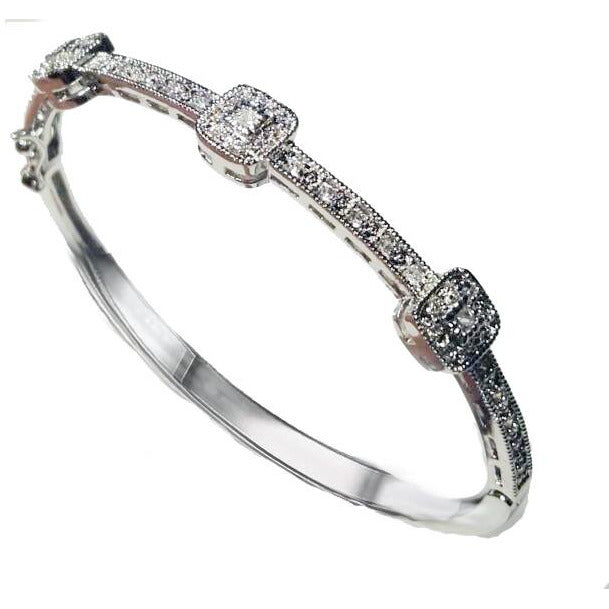 Hinged Zirconite Cubic Zirconia 3-square Stations Rhodium Bangle Bracelet - Diamond Veneer Jewelry