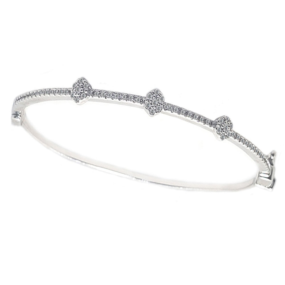 Hinged Zirconite Cubic Zirconia 3-Stations Slender Rhodium Bangle  Bracelet - Diamond Veneer Jewelry