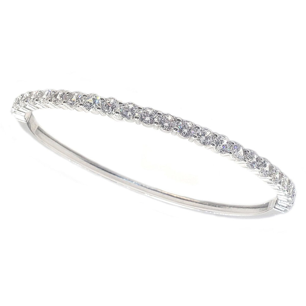 Hinged Zirconite Cubic Zirconia 4mm Line Rhodium Bangle Bracelet