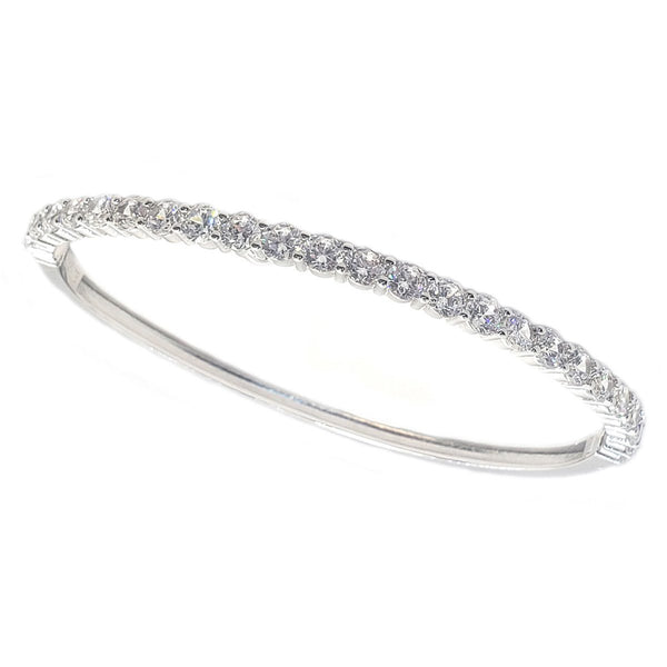 Hinged Zirconite Cubic Zirconia 4mm Line Rhodium Bangle Bracelet - Diamond Veneer Jewelry