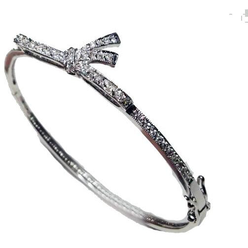 Hinged Zirconite Cubic Zirconia Knot Rhodium Bangle Bracelet