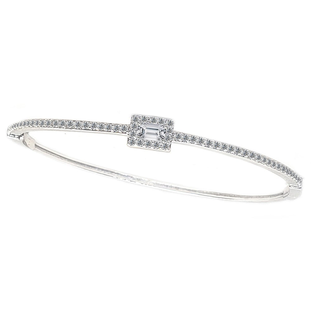 Hinged Zirconite Cubic Zirconia Square center Slender Rhodium Bangle Bracelet