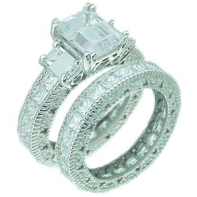 Intensely brilliant 1.5CT Emerald Diamond Veneer Cubic Zirconia Sterling Silver Filigree Eternity band Ring Set