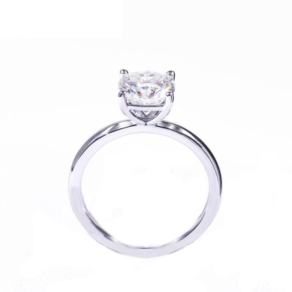 Intensely Brilliant Round Diamond Veneer Cubic Zirconia Set in Sterling silver Engagement/Wedding Solitaire Ring. 635R166 - Diamond Veneer Jewelry