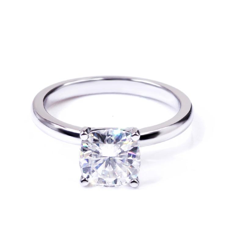 Intensely Brilliant Square Cushion Diamond Veneer Cubic Zirconia set Sterling Silver Solitaire Ring - Diamond Veneer Jewelry