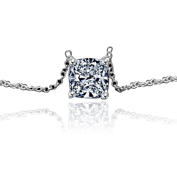 Intensely Radiant Cushion Square Diamond Veneer Cubic Zirconia Solitaire Pendant. 635P208 - Diamond Veneer Jewelry