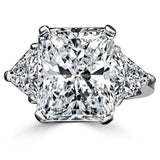 Intensely Radiant Diamond Veneer Cubic Zirconia Center with Two 1 CT. Triangular Sides Set in Sterling Silver Classic Ring. 635R71337 - Diamond Veneer Jewelry