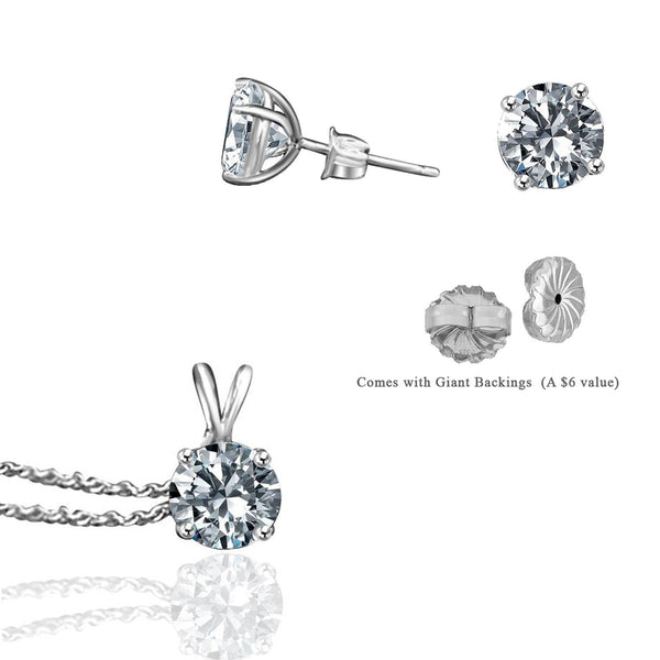 Megyn Kelly Show Special Earrings & Pendant 4 CT. Diamond Veneer Stud Earrings & Diamond Veneer Solitaire Electroplated Pendant 635e400635P1.25CT - Diamond Veneer Jewelry