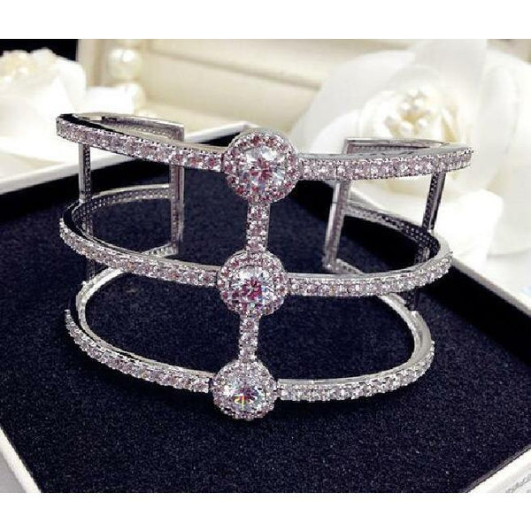 Open Ends Zirconite Cubic Zirconia extra wide geometric 3-line Rhodium Bangle Bracelet - Diamond Veneer Jewelry
