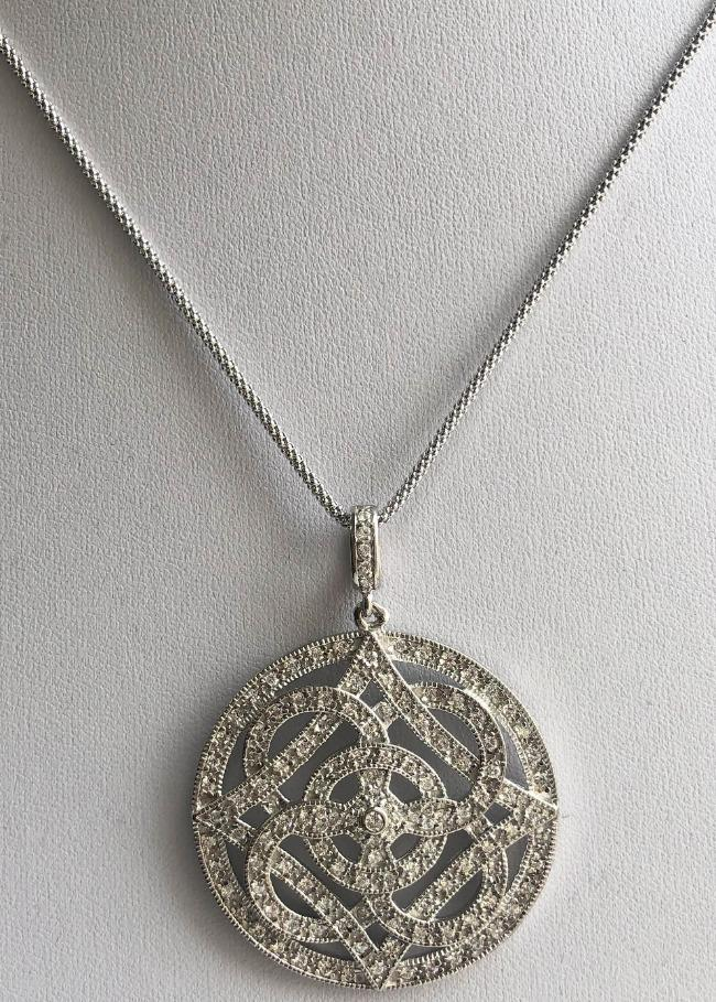 Oversized Round Geometric motifs Zirconite Cubic Zirconia Medallion Sterling Silver Pendant. STP145