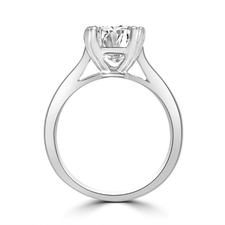 Pear Solitaire Diamond Veneer Cubic Zirconia 14K Gold Ring. 635R003K