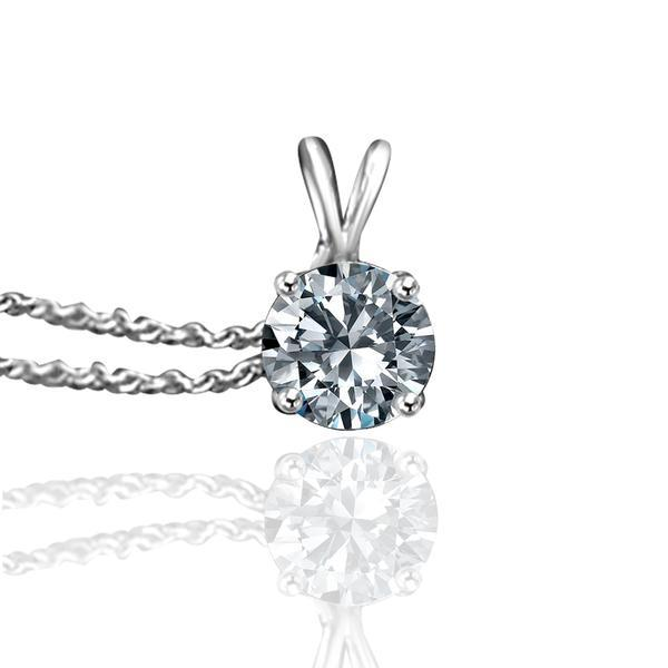 Pendant Designer Basket set Round Simulated Diamond - Diamond Veneer Solitaire Sterling Silver w/Platinum Electroplated Pendant 635P1.25CT - Diamond Veneer Jewelry