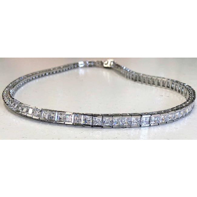 Princess Cut Square Zirconite Cubic Zirconia Sterling Silver CZ Tennis Necklace. 602N50010
