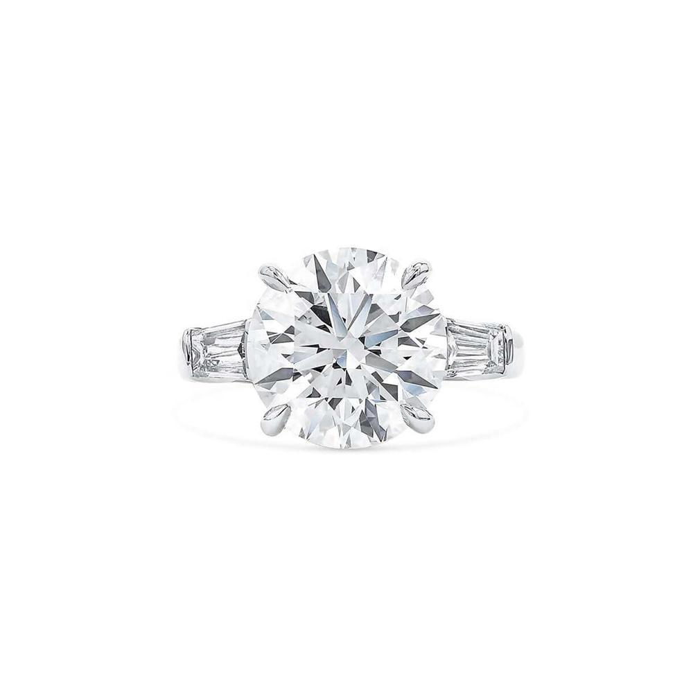 Round Solitaire Baguette Diamond Veneer Cubic Zirconia Sterling Silver Ring. - Diamond Veneer Jewelry
