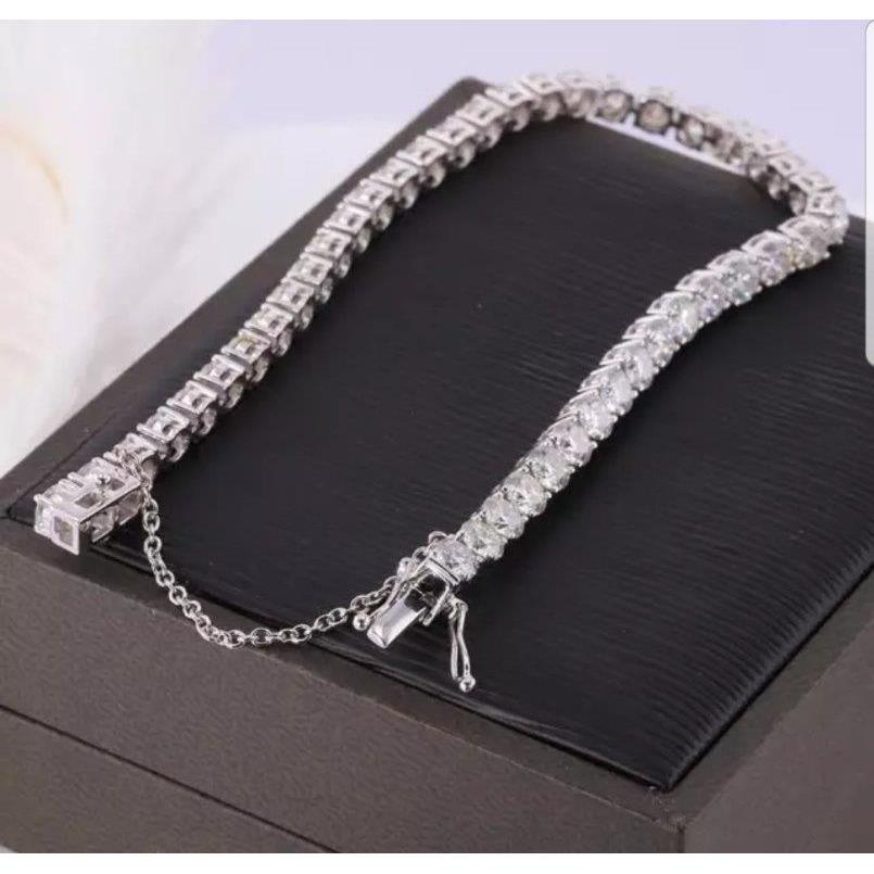 Exceptionally brilliant Round Zirconite Cubic Zirconia CZ  w/Safety Chain Tennis Bracelet. 698Bcast