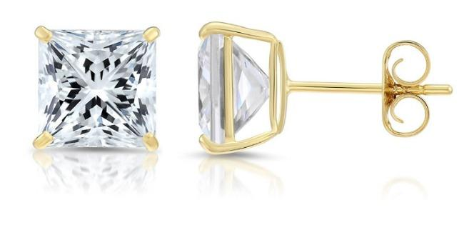 Square Diamond Veneer Cubic Zirconia 14K Gold Stud Earrings. 635EQ14KL