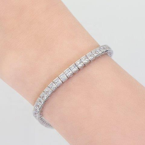 Princess Cut Square Zirconite Cubic Zirconia CZ Tennis Bracelet w/Safety Chain. 698BQcast