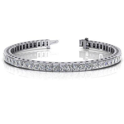 Square Zirconite Cubic Zirconia Sterling Silver Hinged Tennis Bracelet.