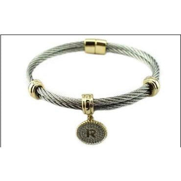 Stainless Steel Cable monogram initial Charm Bracelet/Bangle - Diamond Veneer Jewelry