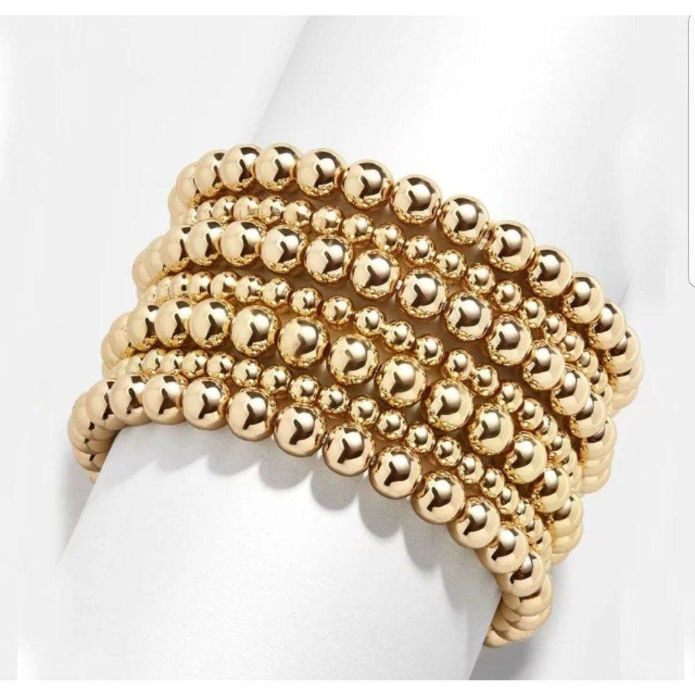 Stainless Steel Gold Bead stretch Bracelet by Zirconite - Diamond Veneer Jewelry