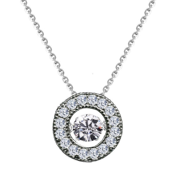 Sterling Silver Dancing Diamond Veneer Cubic zirconia Perpetual motion Pendant - Diamond Veneer Jewelry