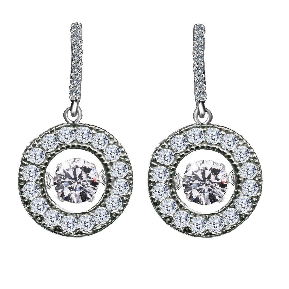 Dancing Diamond Veneer Cubic zirconia Sterling silver earrings. - Diamond Veneer Jewelry