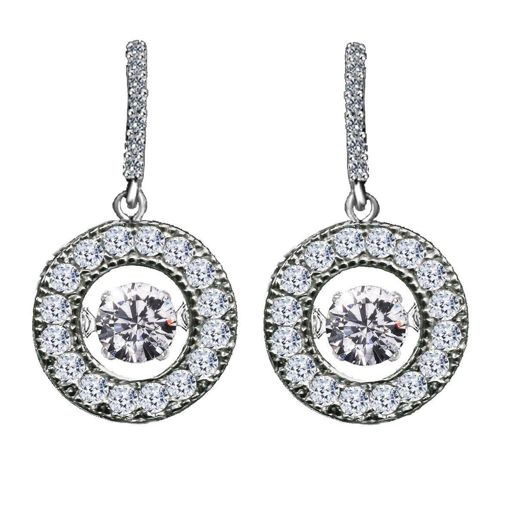 Sterling Silver Dancing Diamond Veneer Cubic zirconia with perpetual motion Earrings 635E217 - Diamond Veneer Jewelry