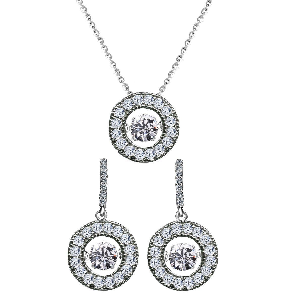 sterling silver dancing diamond veneer in perpetual motion pendant with earrings set