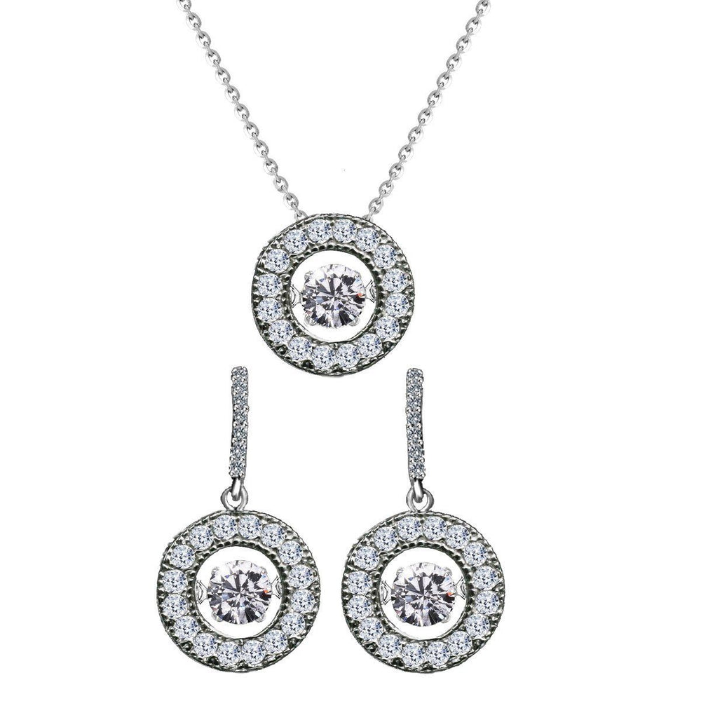 Sterling Silver Dancing Diamond Veneer in Perpetual Motion Pendant with Earrings Set - Diamond Veneer Jewelry